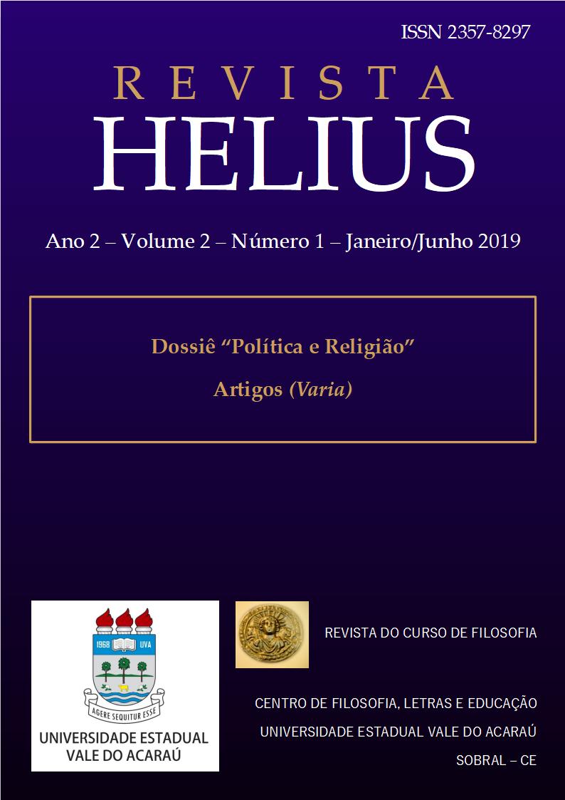 Revista Helius, ano 2, volume 2, número 1, janeiro a junho de 2019, dossiê política e religião e artigos variados
